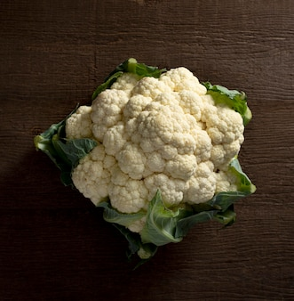 Top view cauliflower with leaves
