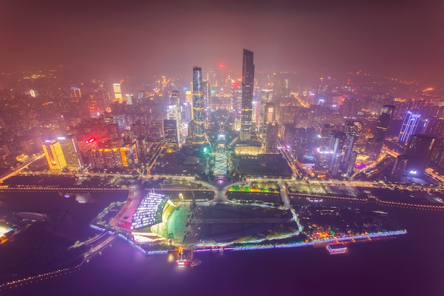 Top view of the central business district of guangzhou city at dusk