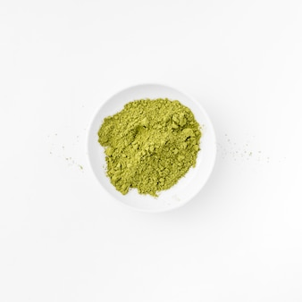Top view ceramic bowl with matcha powder