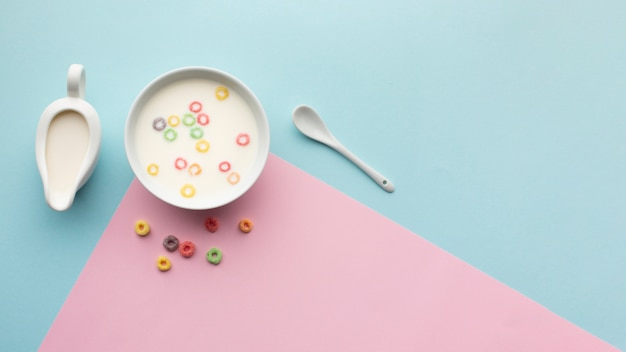 Top view cereal bowl with copy space