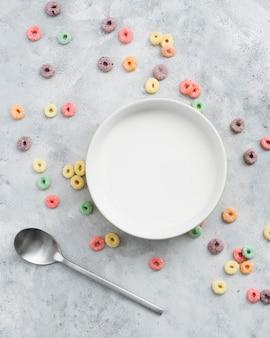 Top view of cereal breakfast concept