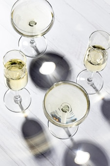 Top view champagne glasses