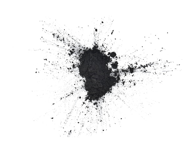 Top view of charcoal on a white background