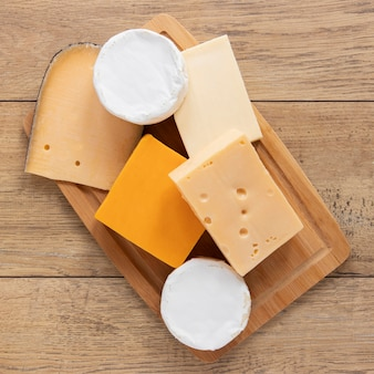 Top view cheese arrangement
