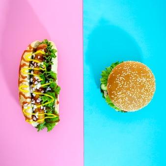 Top view cheeseburger and hot dog