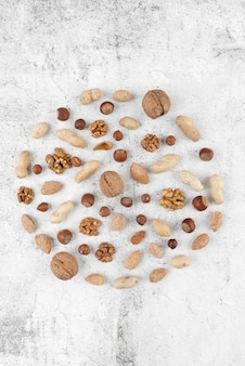 Top view of chesnuts arrangement