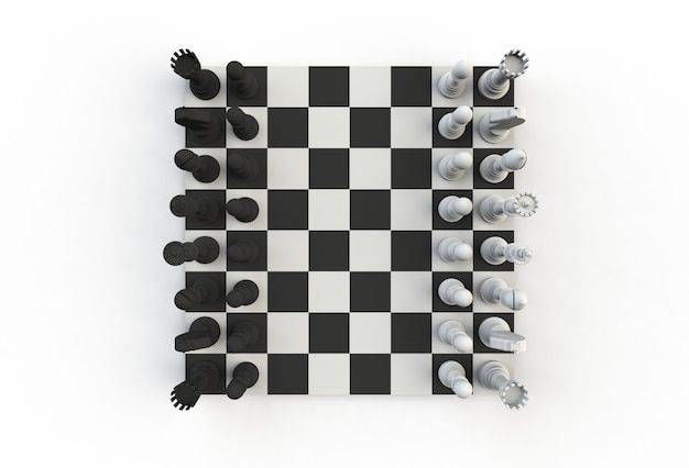 Top view of chess figures on the playing board on white background, 3d rendering