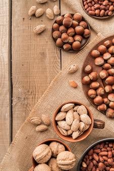 Top view of chestnuts arrangement