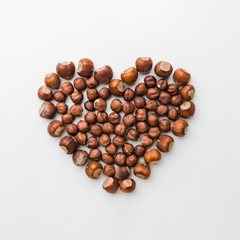 Top view chestnuts in heart shape