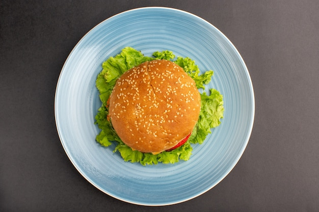 Top view of chicken sandwich with green salad and vegetables inside plate on dark surface