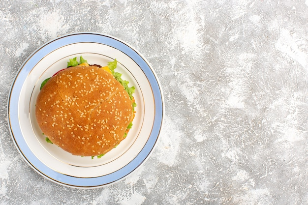 Top view of chicken sandwich with green salad and vegetables inside on white surface