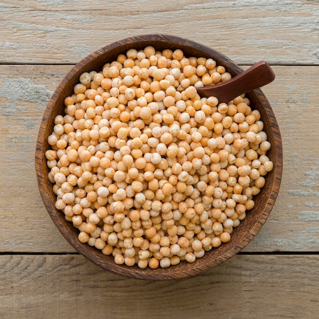 Top view of chickpeas beans concept