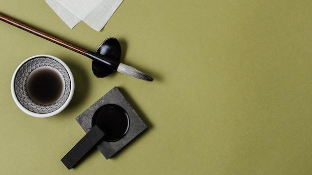 복사 공간 상위 뷰 중국 잉크 구성