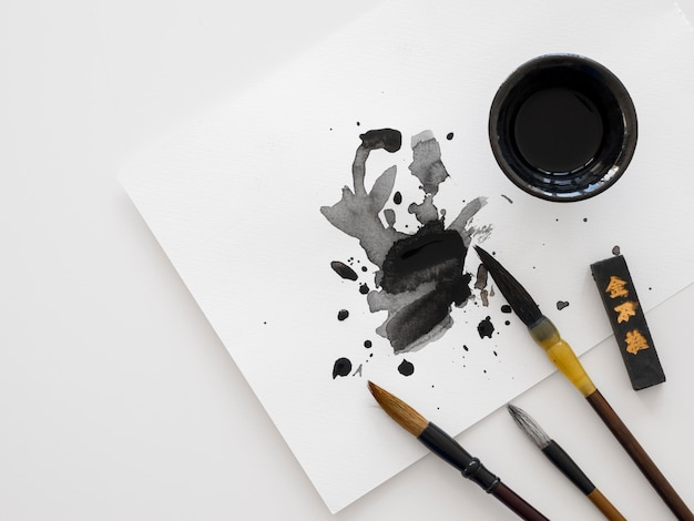 Top view of chinese ink concept