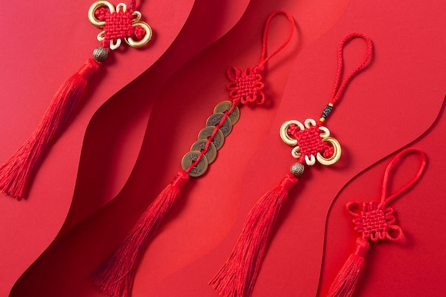 Top view of chinese new year concept