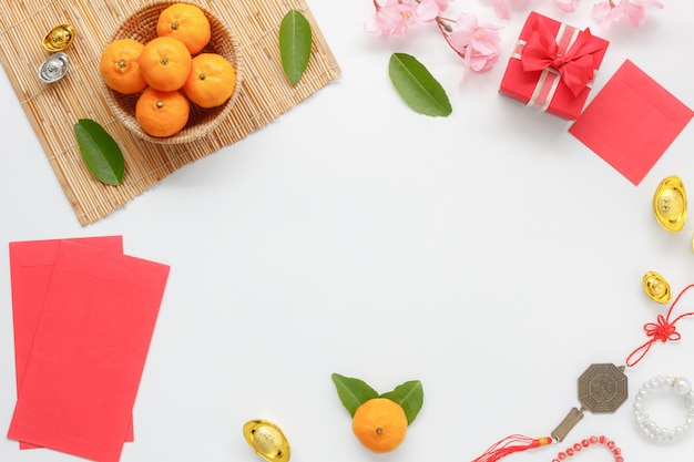 トップビュー中国の新年または旧正月の背景。