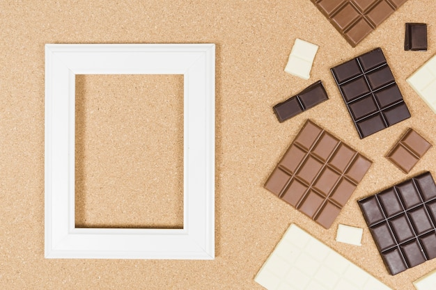 Top view chocolate arrangement with frame
