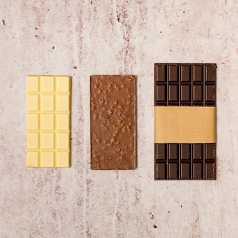 Top view of chocolate bars
