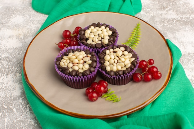 明るい背景のケーキビスケット甘い生地のプレート内部のクランベリーとトップビューチョコレートブラウニー