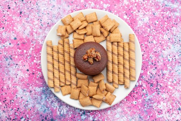 Вид сверху шоколадный торт вместе с крекерами и печеньем внутри белой тарелки на цветном фоне, печенье, печенье, сахар, сладкое