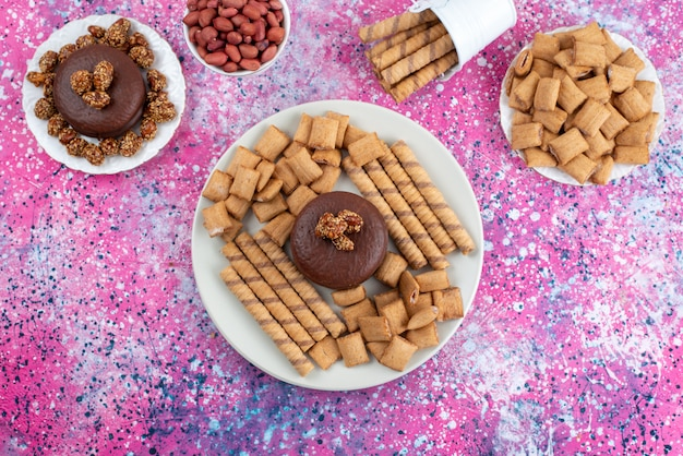 Top view chocolate cake along with crackers and cookies on the colorful background cookie biscuit sugar sweet color