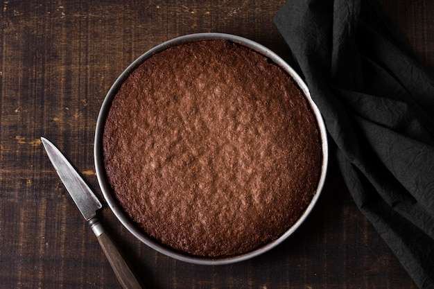 Top view chocolate cake ready to be served