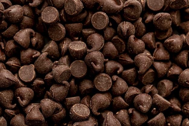 Vista dall'alto di caramelle al cioccolato