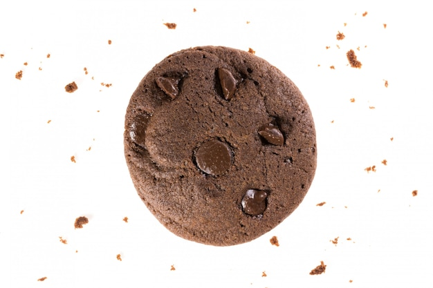 Top view of chocolate cookies with chips isolated on white , flat lay of dessert and sweet