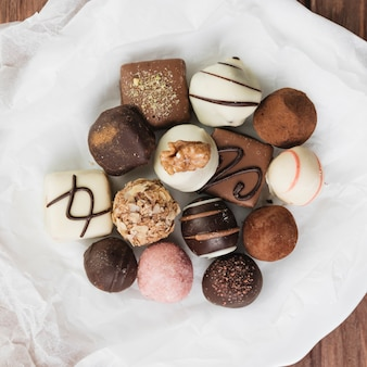 Top view chocolate selection on a plate
