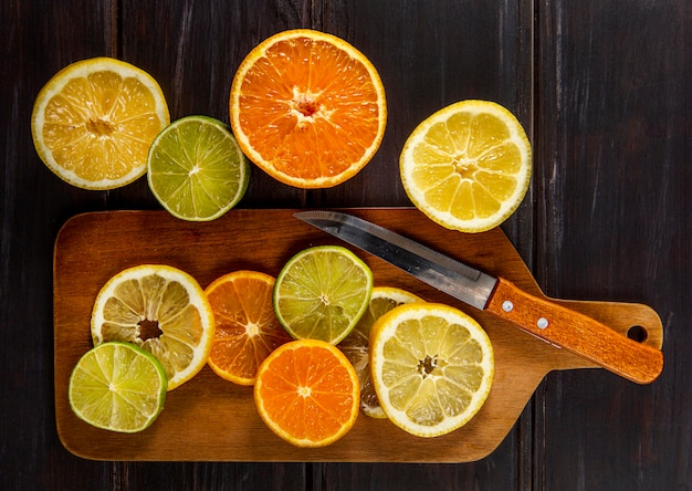 Top view of chopped citrus with knife