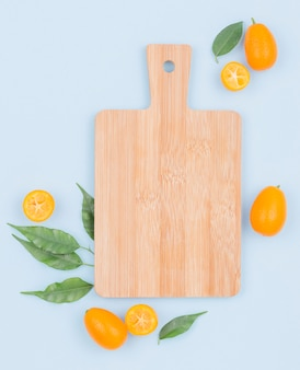 Top view chopping board on the table