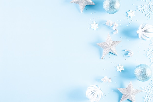 Top view of christmas decoration  on blue background.