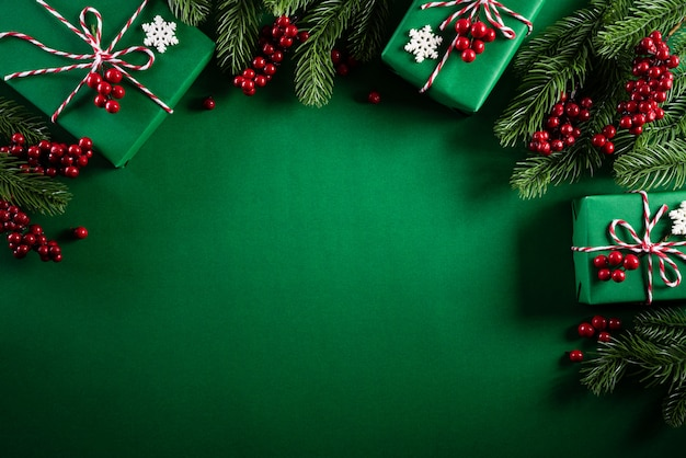 Top view of christmas decoration  on green background.