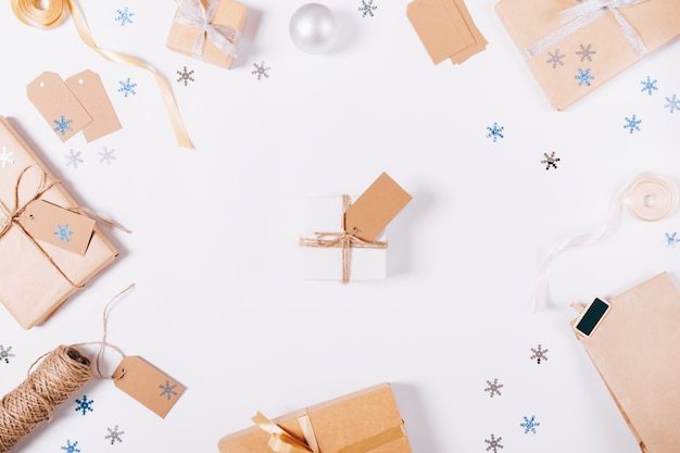 Top view christmas decorations and boxes with gifts