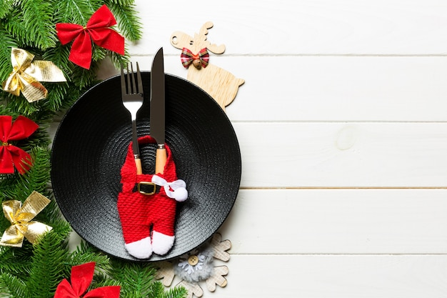 Top view of christmas dinner on wooden surface