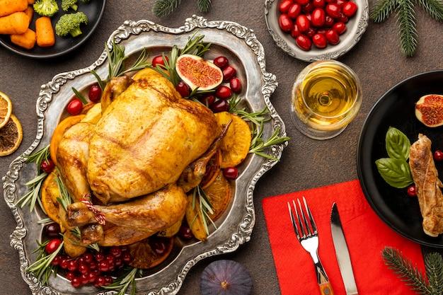 上面図のクリスマスの食事の品揃え