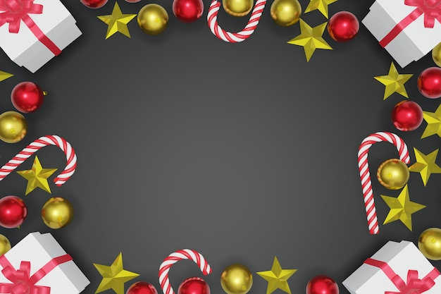 Top view christmas and new year black background with copy space frame, 3d rendering.
