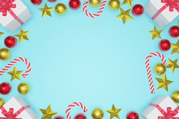 Top view christmas and new year blue sky background with copy space frame, 3d rendering.