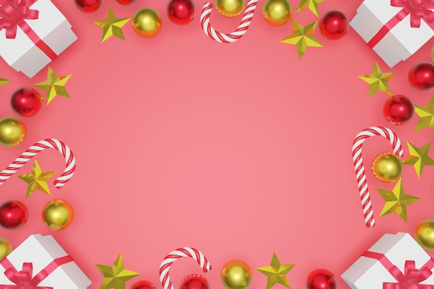 Top view christmas and new year red background with copy space frame, 3d rendering.