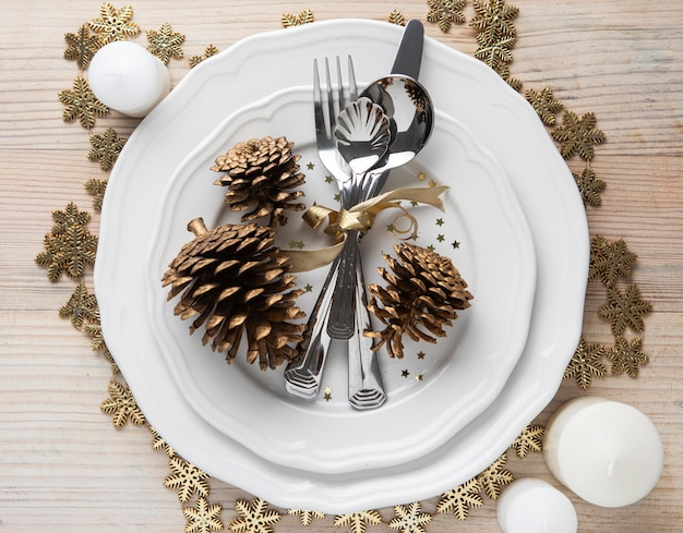 Top view christmas tableware on plate