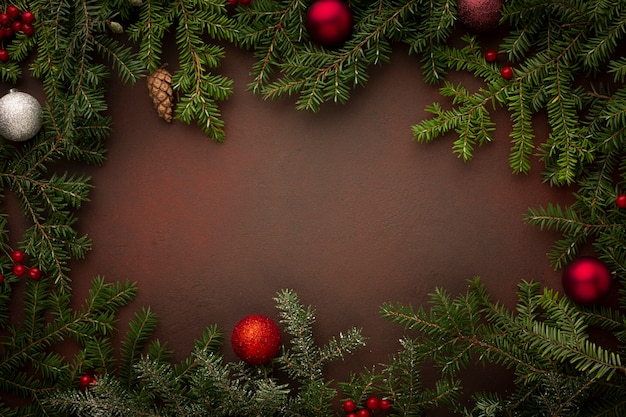 Top view christmas tree branches copy space