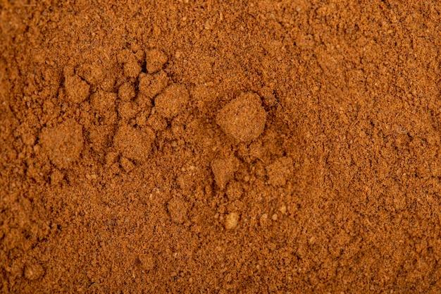 Top view of cinnamon powder textured background