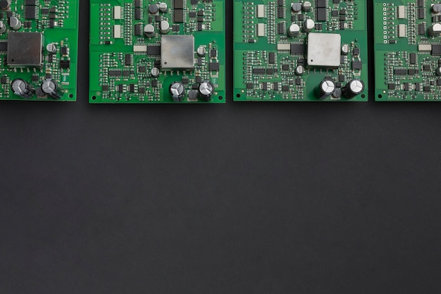 Top view circuit boards with copy space
