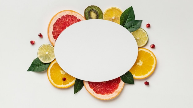 Top view of citrus with copy space