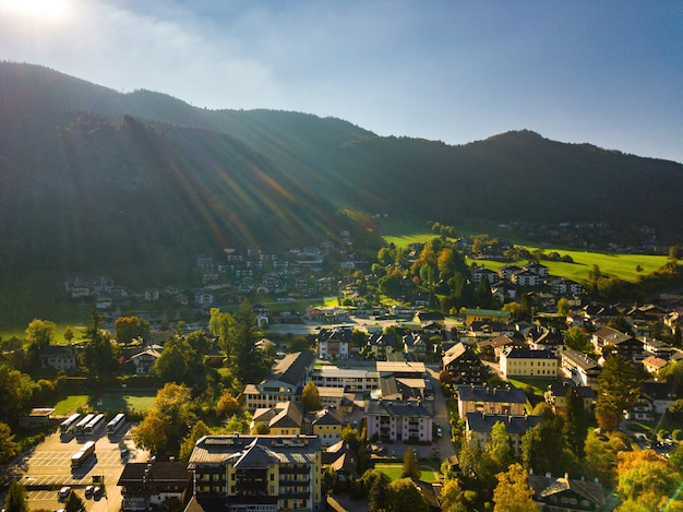 Top view of the city of salzkammergut in the austrian alps.