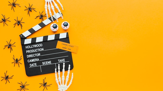 Top view clapperboard and spiders with copy space