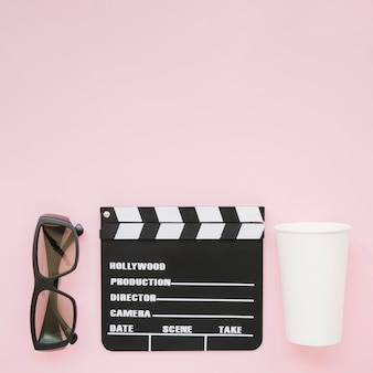 Top view clapperboard with 3d glasses