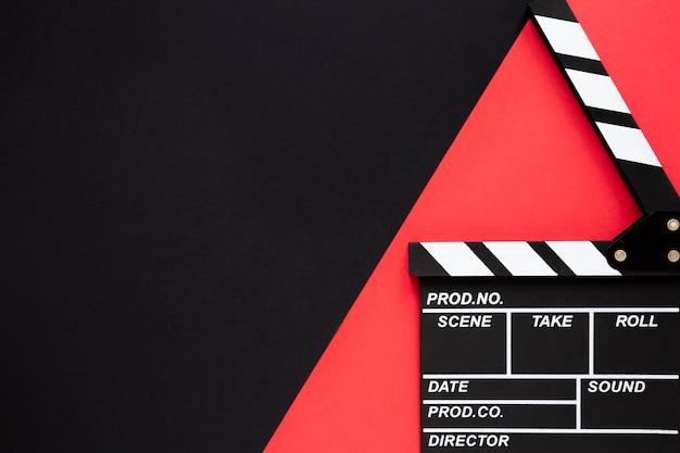 Top view clapperboard with copy space