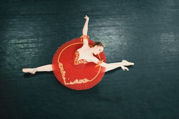 Top view of classic dancer on the stage