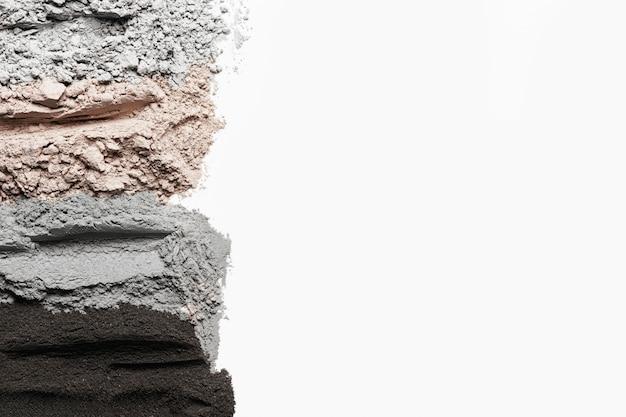 Polvere di argilla vista dall'alto con spazio di copia